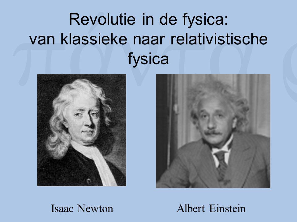 Revolutie in de fysica: van klassieke naar relativistische fysica Isaac Newton Albert Einstein