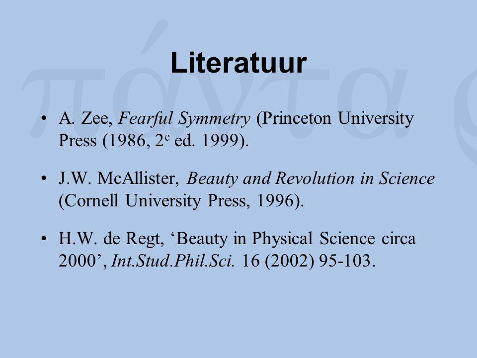 Literatuur A. Zee, Fearful Symmetry (Princeton University Press (1986, 2 e ed. 1999). J.W. McAllister, Beauty and Revolution in Science (Cornell Unive