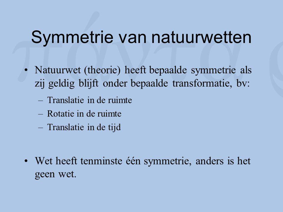 Symmetrie van natuurwetten Natuurwet (theorie) heeft bepaalde symmetrie als zij geldig blijft onder bepaalde transformatie, bv: –Translatie in de ruim