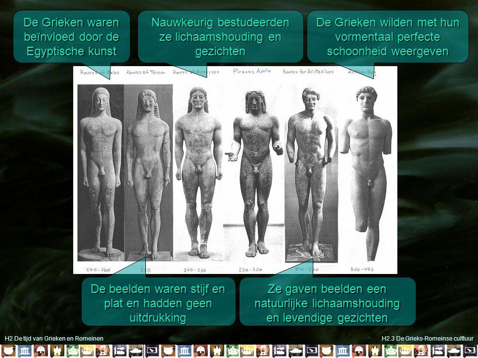 H2 De tijd van Grieken en RomeinenH2.3 De Grieks-Romeinse culttuur De Grieken waren beïnvloed door de Egyptische kunst De beelden waren stijf en plat
