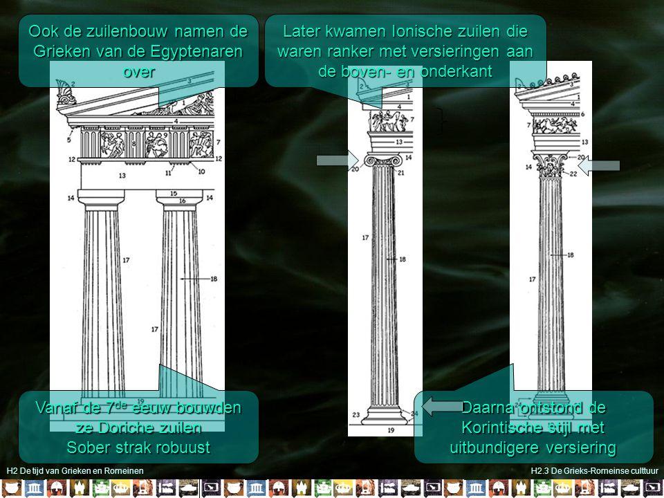 H2 De tijd van Grieken en RomeinenH2.3 De Grieks-Romeinse culttuur Ook de zuilenbouw namen de Grieken van de Egyptenaren over Vanaf de 7 de eeuw bouwd