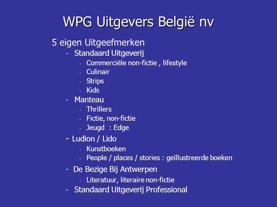 WPG Uitgevers België nv 5 eigen Uitgeefmerken - Standaard Uitgeverij - Commerciële non-fictie, lifestyle - Culinair - Strips - Kids - Manteau - Thrill