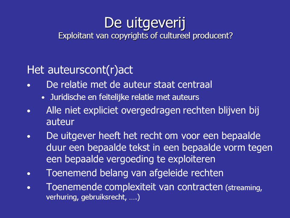 Het auteurscont(r)act De relatie met de auteur staat centraal Juridische en feitelijke relatie met auteurs Alle niet expliciet overgedragen rechten bl
