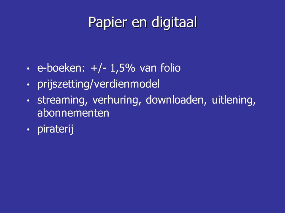 e-boeken: +/- 1,5% van folio prijszetting/verdienmodel streaming, verhuring, downloaden, uitlening, abonnementen piraterij Papier en digitaal