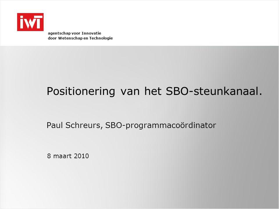 agentschap voor Innovatie door Wetenschap en Technologie Positionering van het SBO-steunkanaal.
