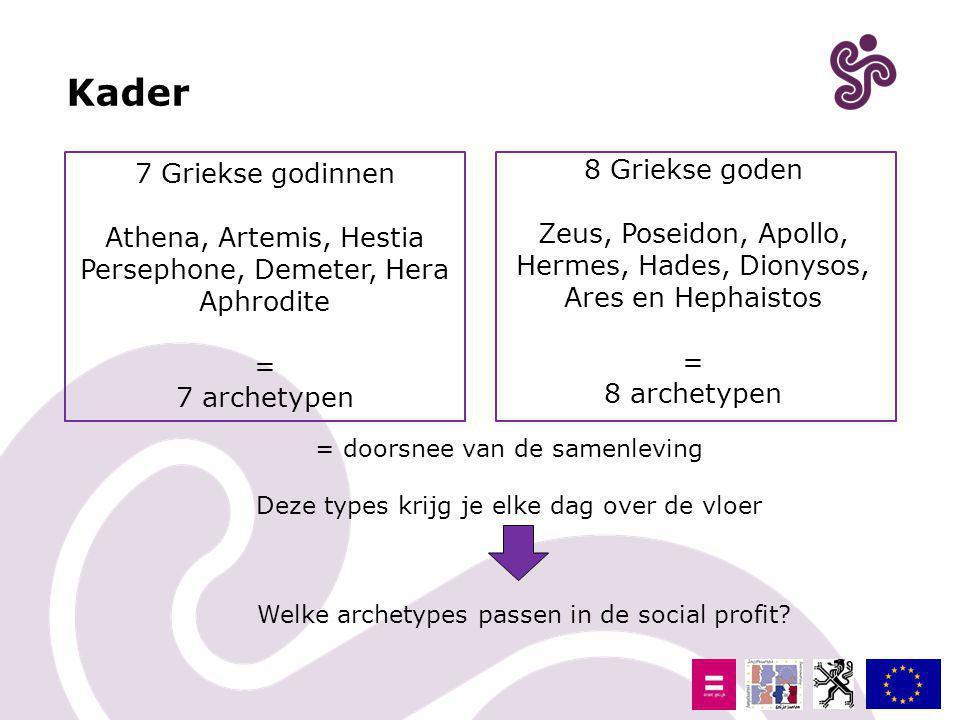 7 Griekse godinnen Athena, Artemis, Hestia Persephone, Demeter, Hera Aphrodite = 7 archetypen 8 Griekse goden Zeus, Poseidon, Apollo, Hermes, Hades, D