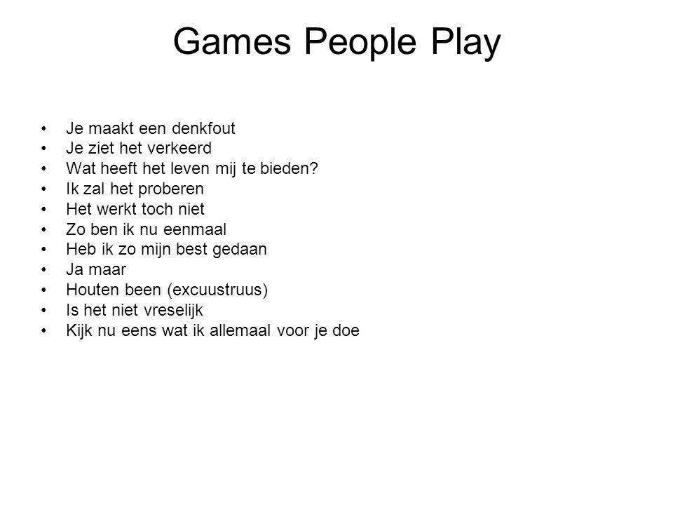 Games People Play Je maakt een denkfout Je ziet het verkeerd Wat heeft het leven mij te bieden? Ik zal het proberen Het werkt toch niet Zo ben ik nu e