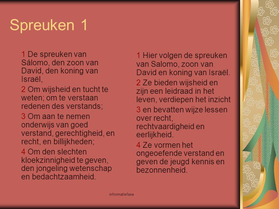 informatiefase Spreuken 1 1 De spreuken van Sálomo, den zoon van David, den koning van Israël, 2 Om wijsheid en tucht te weten; om te verstaan redenen