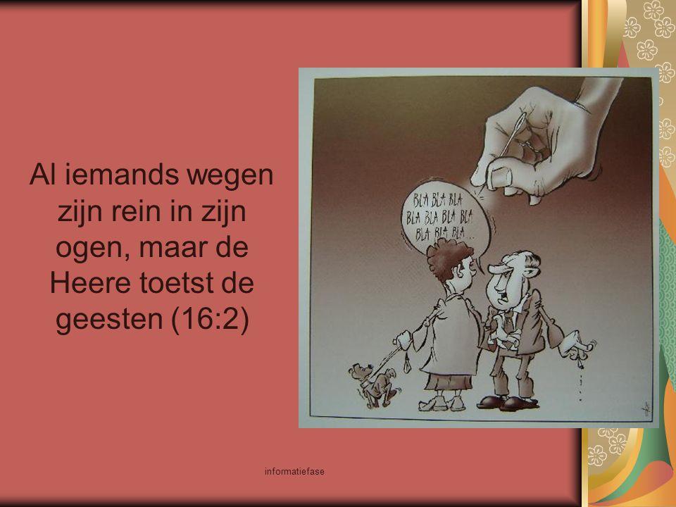 informatiefase Al iemands wegen zijn rein in zijn ogen, maar de Heere toetst de geesten (16:2)