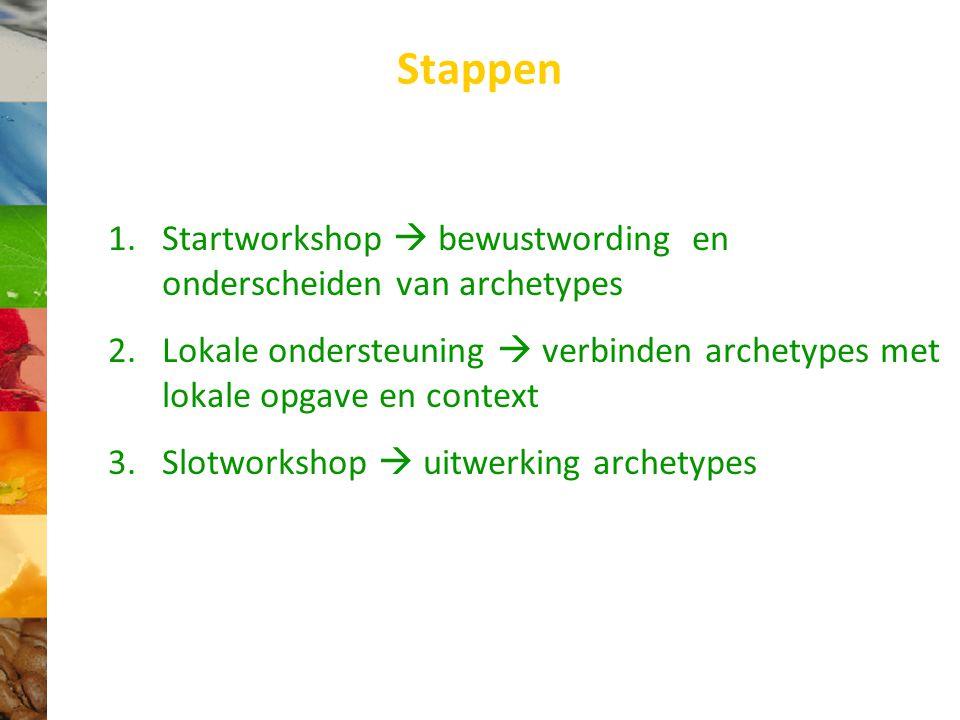 Stappen 1.Startworkshop  bewustwording en onderscheiden van archetypes 2.Lokale ondersteuning  verbinden archetypes met lokale opgave en context 3.Slotworkshop  uitwerking archetypes