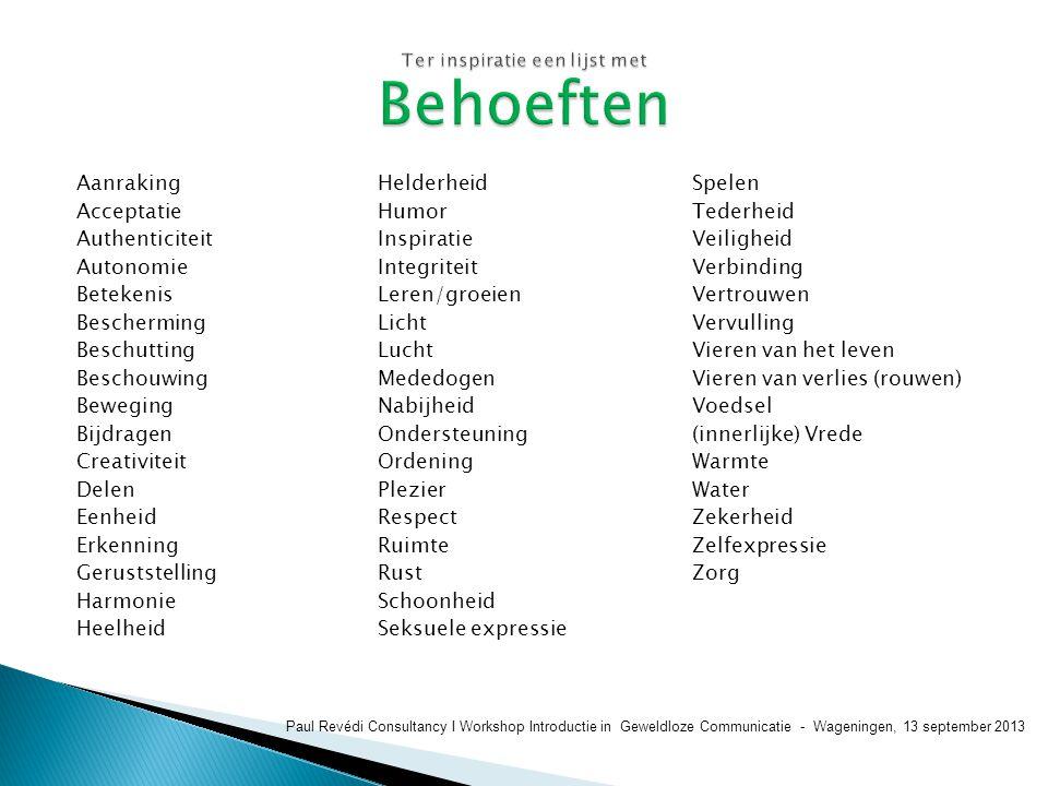  http://www.ai-opener.nl/index.html http://www.ai-opener.nl/index.html  Webwinkel  Trainingen  Video's  Nieuwsbrief Paul Revédi Consultancy I Workshop Introductie in Geweldloze Communicatie - Wageningen, 13 september 2013