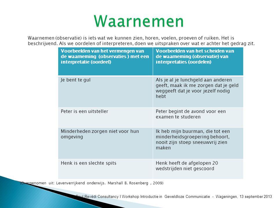 Paul Revédi Consultancy I Workshop Introductie in Geweldloze Communicatie - Wageningen, 13 september 2013 Waarnemen (observatie) is iets wat we kunnen