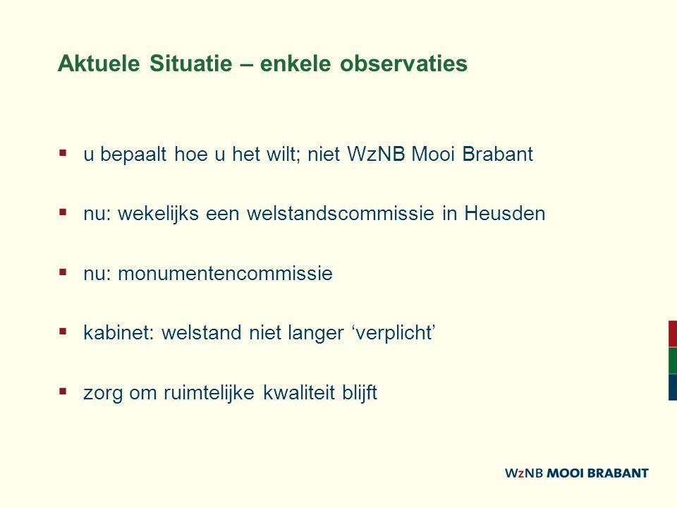 Aktuele Situatie – enkele observaties  u bepaalt hoe u het wilt; niet WzNB Mooi Brabant  nu: wekelijks een welstandscommissie in Heusden  nu: monumentencommissie  kabinet: welstand niet langer 'verplicht'  zorg om ruimtelijke kwaliteit blijft