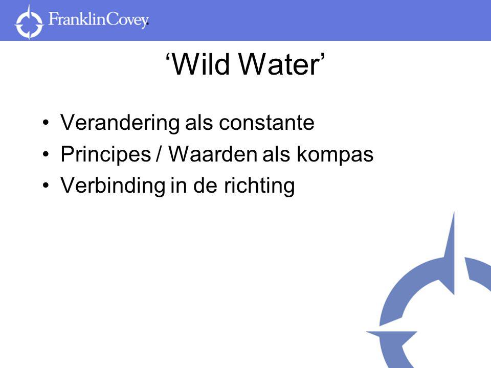 'Wild Water' Verandering als constante Principes / Waarden als kompas Verbinding in de richting