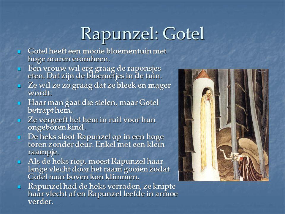 Rapunzel: Gotel Gotel heeft een mooie bloementuin met hoge muren eromheen. Gotel heeft een mooie bloementuin met hoge muren eromheen. Een vrouw wil er