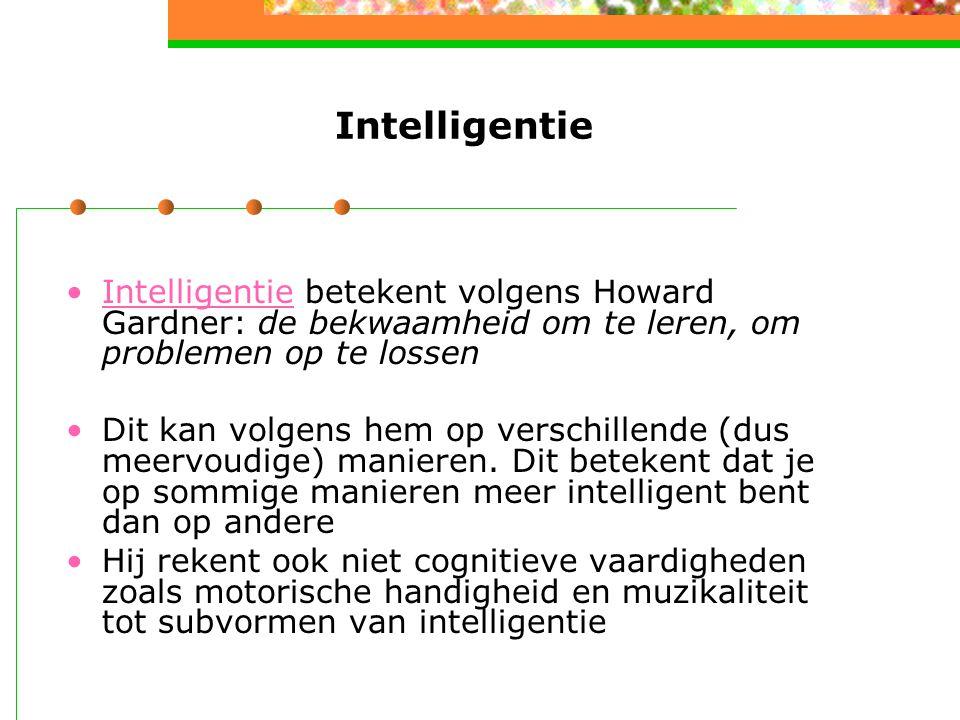 Intelligentie Intelligentie betekent volgens Howard Gardner: de bekwaamheid om te leren, om problemen op te lossenIntelligentie Dit kan volgens hem op