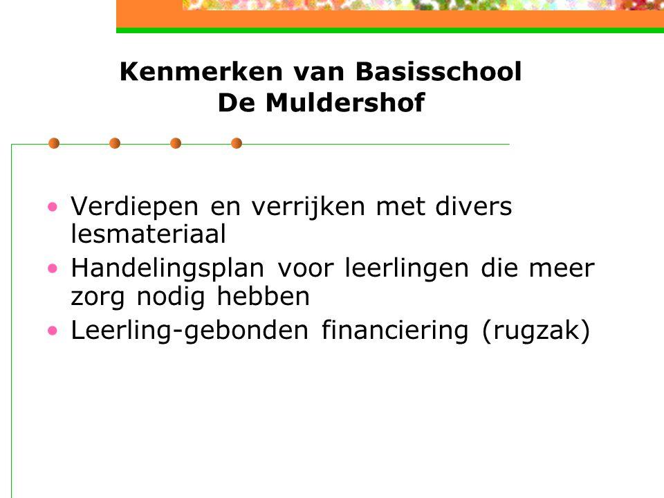 Kenmerken van Basisschool De Muldershof Verdiepen en verrijken met divers lesmateriaal Handelingsplan voor leerlingen die meer zorg nodig hebben Leerling-gebonden financiering (rugzak)