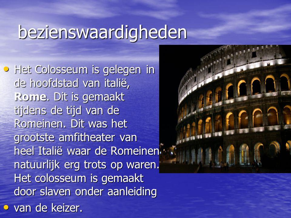 bezienswaardigheden Het Colosseum is gelegen in de hoofdstad van italië, Rome.