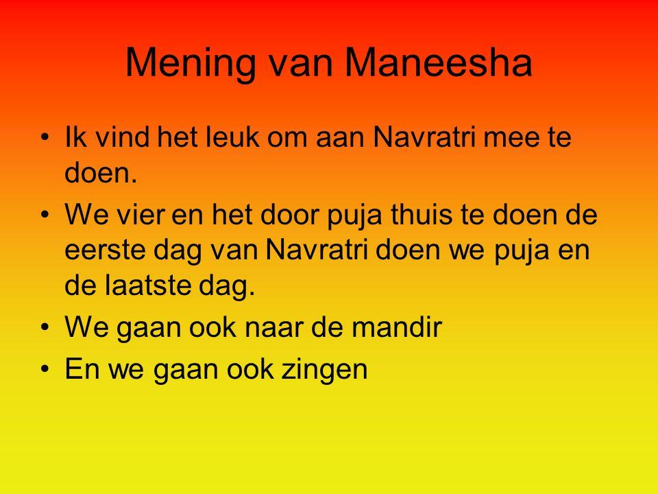 Mening van Maneesha Ik vind het leuk om aan Navratri mee te doen.