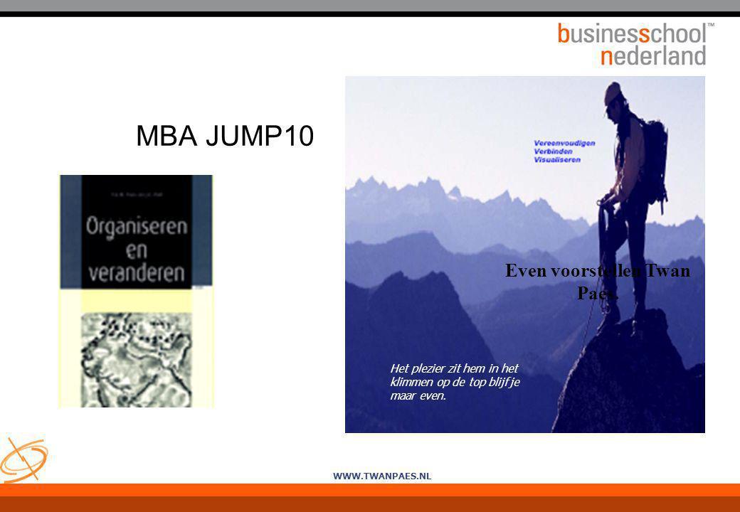 WWW.TWANPAES.NL MBA JUMP10 Het plezier zit hem in het klimmen op de top blijf je maar even. Even voorstellen Twan Paes.