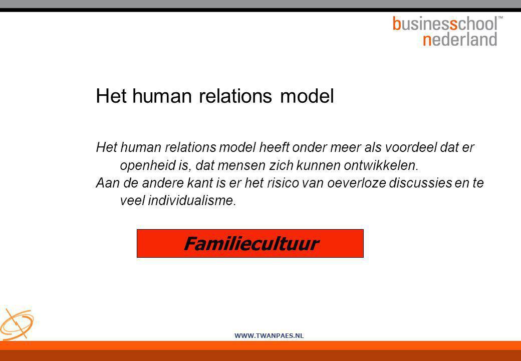 WWW.TWANPAES.NL Het human relations model Het human relations model heeft onder meer als voordeel dat er openheid is, dat mensen zich kunnen ontwikkel