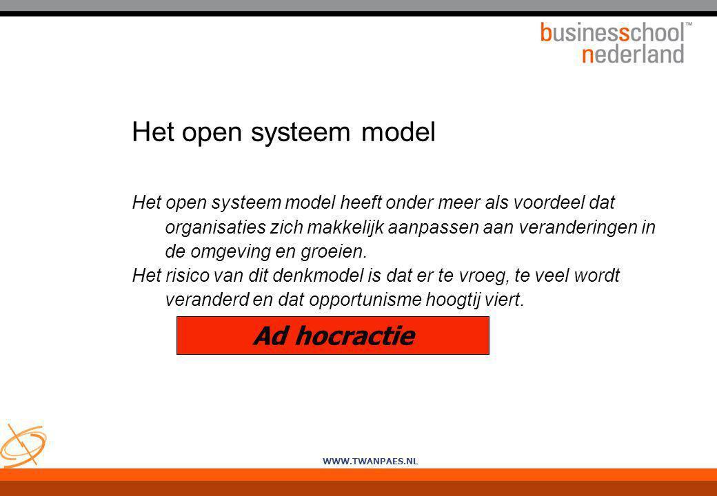 WWW.TWANPAES.NL Het open systeem model Het open systeem model heeft onder meer als voordeel dat organisaties zich makkelijk aanpassen aan veranderinge