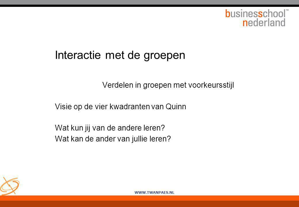 WWW.TWANPAES.NL Interactie met de groepen Verdelen in groepen met voorkeursstijl Visie op de vier kwadranten van Quinn Wat kun jij van de andere leren
