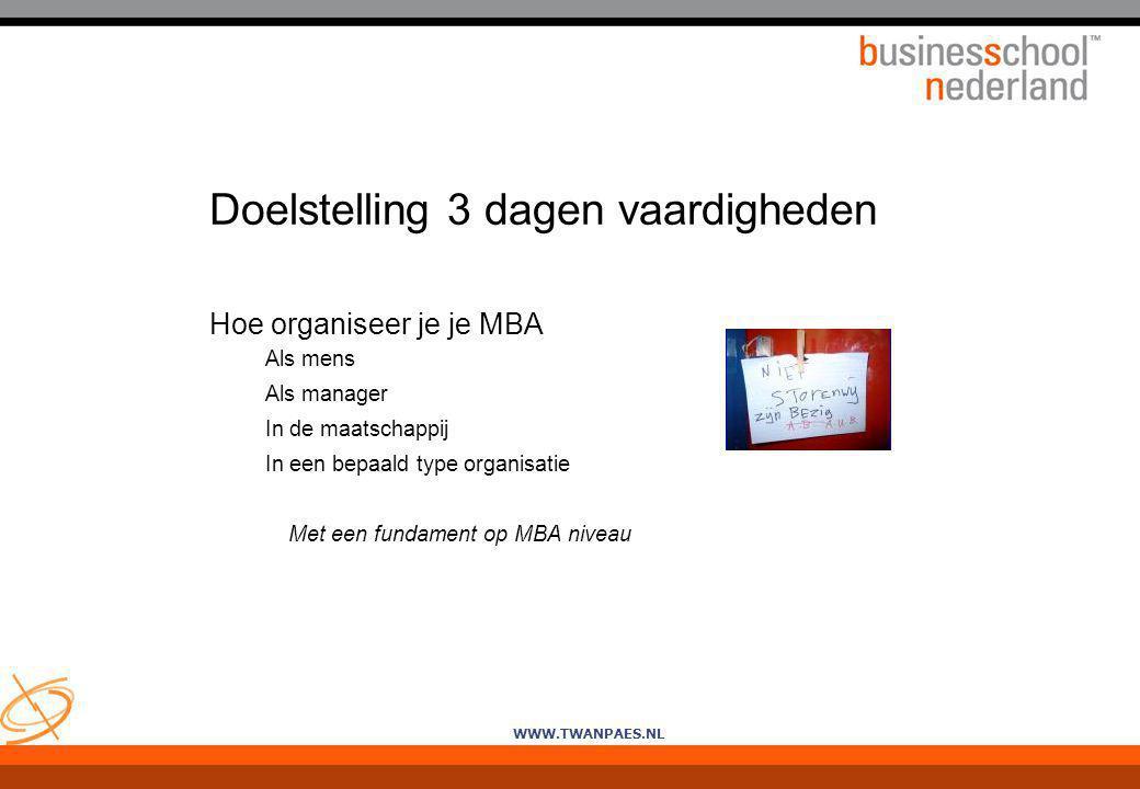 Doelstelling 3 dagen vaardigheden Hoe organiseer je je MBA Als mens Als manager In de maatschappij In een bepaald type organisatie Met een fundament o