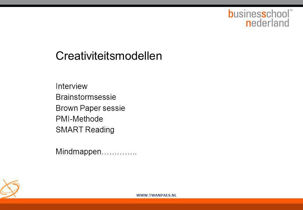 WWW.TWANPAES.NL Creativiteitsmodellen Interview Brainstormsessie Brown Paper sessie PMI-Methode SMART Reading Mindmappen…………..
