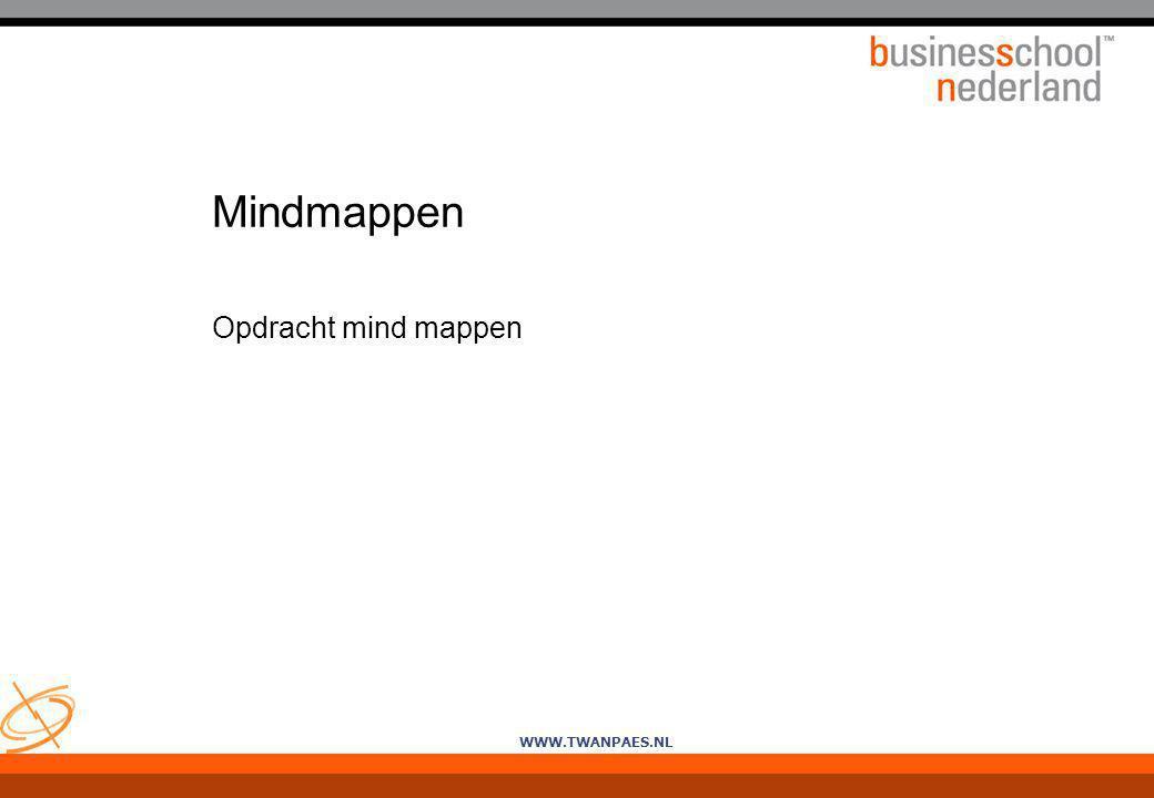 WWW.TWANPAES.NL Mindmappen Opdracht mind mappen