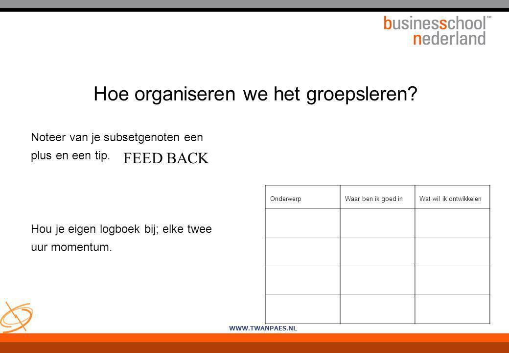WWW.TWANPAES.NL Hoe organiseren we het groepsleren? Noteer van je subsetgenoten een plus en een tip. Hou je eigen logboek bij; elke twee uur momentum.