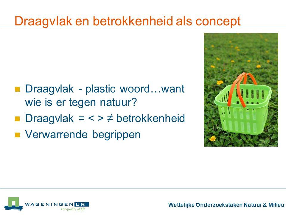 Wettelijke Onderzoekstaken Natuur & Milieu Draagvlak en betrokkenheid als concept Draagvlak - plastic woord…want wie is er tegen natuur.