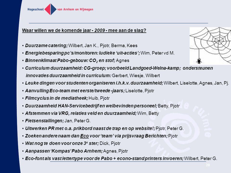 20 Waar willen we de komende jaar - 2009 - mee aan de slag? Duurzame catering; Wilbert, Jan K., Pjotr, Berma, Kees Energiebesparing pc's/monitoren: lu