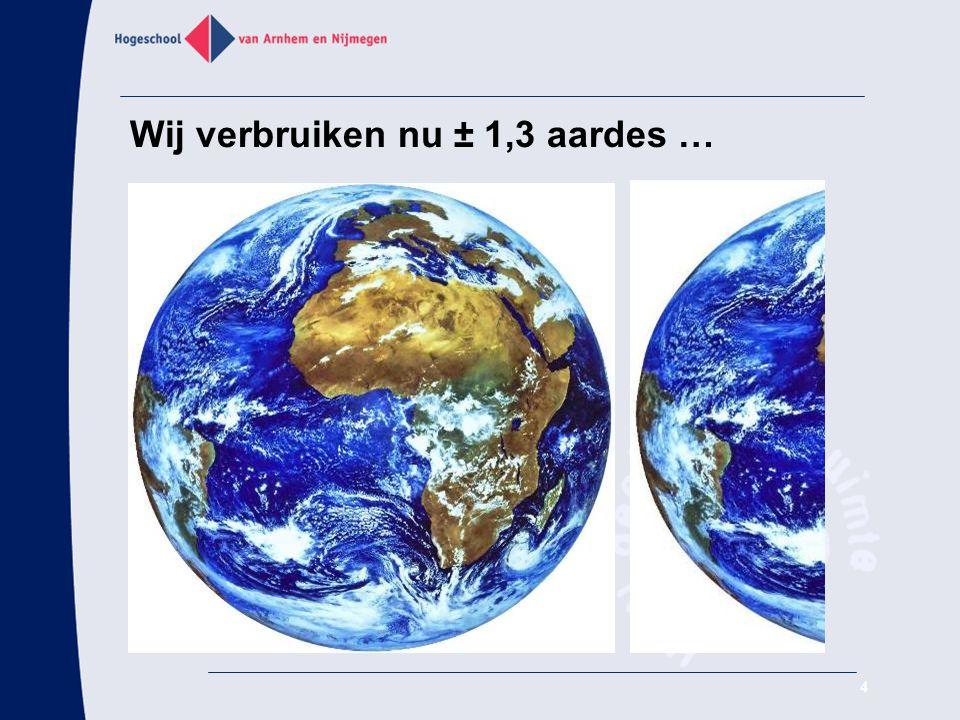 Wij verbruiken nu ± 1,3 aardes … 4