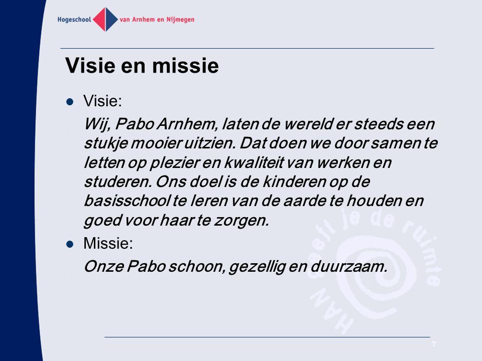 Visie en missie Visie: Wij, Pabo Arnhem, laten de wereld er steeds een stukje mooier uitzien. Dat doen we door samen te letten op plezier en kwaliteit