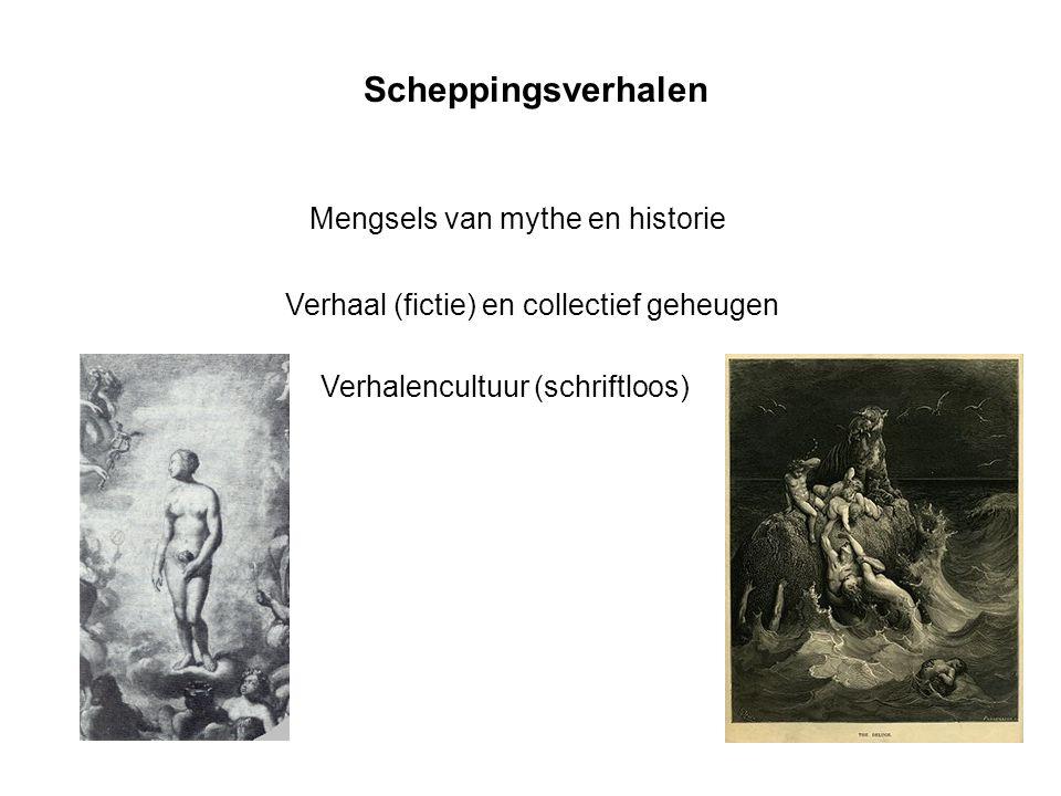 Scheppingsverhalen Mengsels van mythe en historie Verhaal (fictie) en collectief geheugen Verhalencultuur (schriftloos)