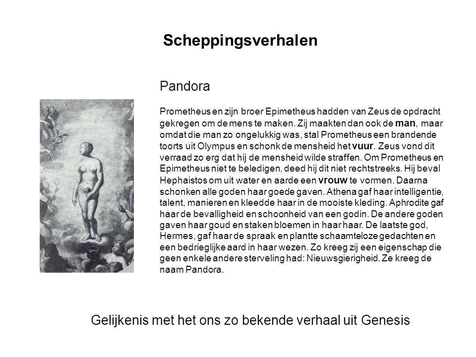 Scheppingsverhalen Prometheus en zijn broer Epimetheus hadden van Zeus de opdracht gekregen om de mens te maken. Zij maakten dan ook de man, maar omda