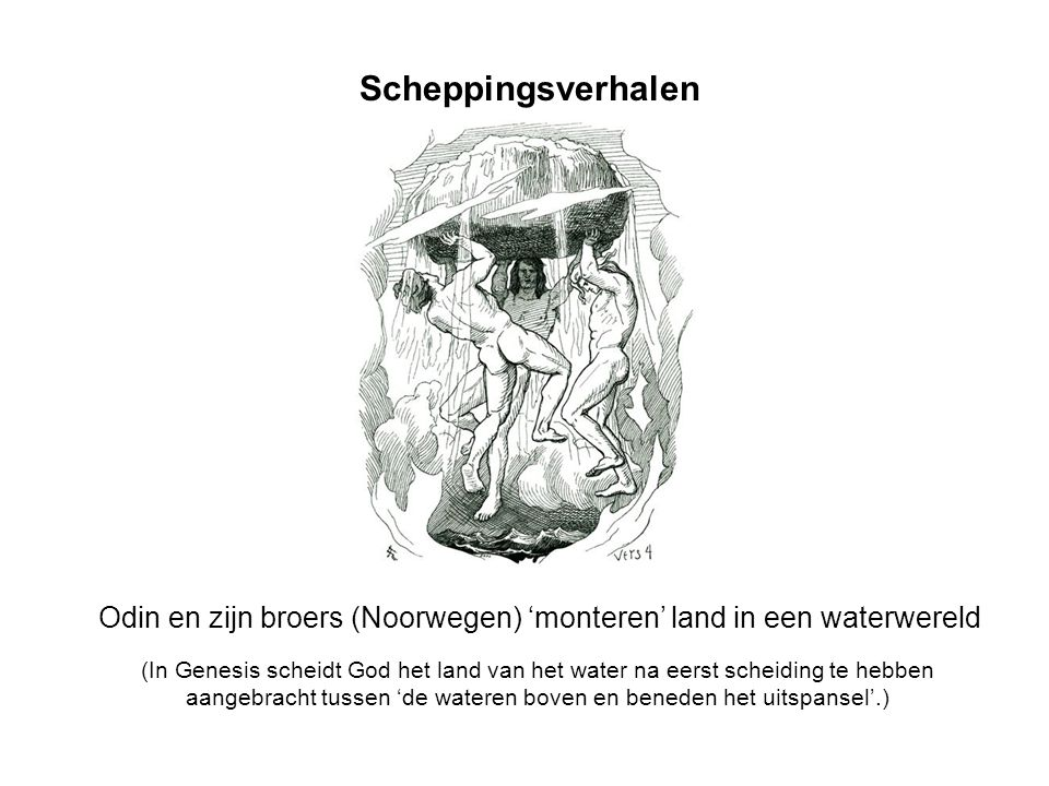 Scheppingsverhalen Odin en zijn broers (Noorwegen) 'monteren' land in een waterwereld (In Genesis scheidt God het land van het water na eerst scheidin