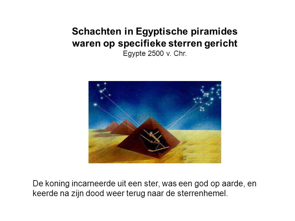 Schachten in Egyptische piramides waren op specifieke sterren gericht Egypte 2500 v. Chr. De koning incarneerde uit een ster, was een god op aarde, en
