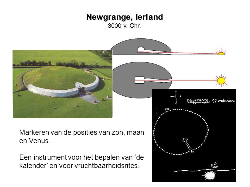 Markeren van de posities van zon, maan en Venus. Een instrument voor het bepalen van 'de kalender' en voor vruchtbaarheidsrites. Newgrange, Ierland 30