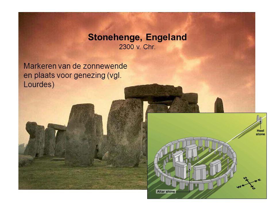 Stonehenge, Engeland 2300 v. Chr. Markeren van de zonnewende en plaats voor genezing (vgl. Lourdes)