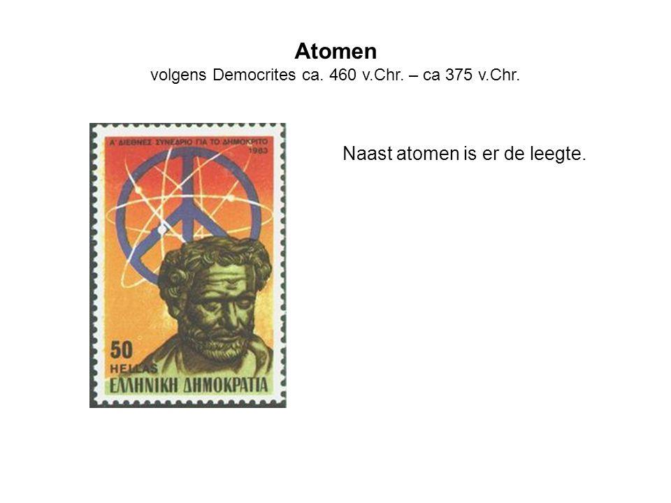 Atomen volgens Democrites ca. 460 v.Chr. – ca 375 v.Chr. Naast atomen is er de leegte.