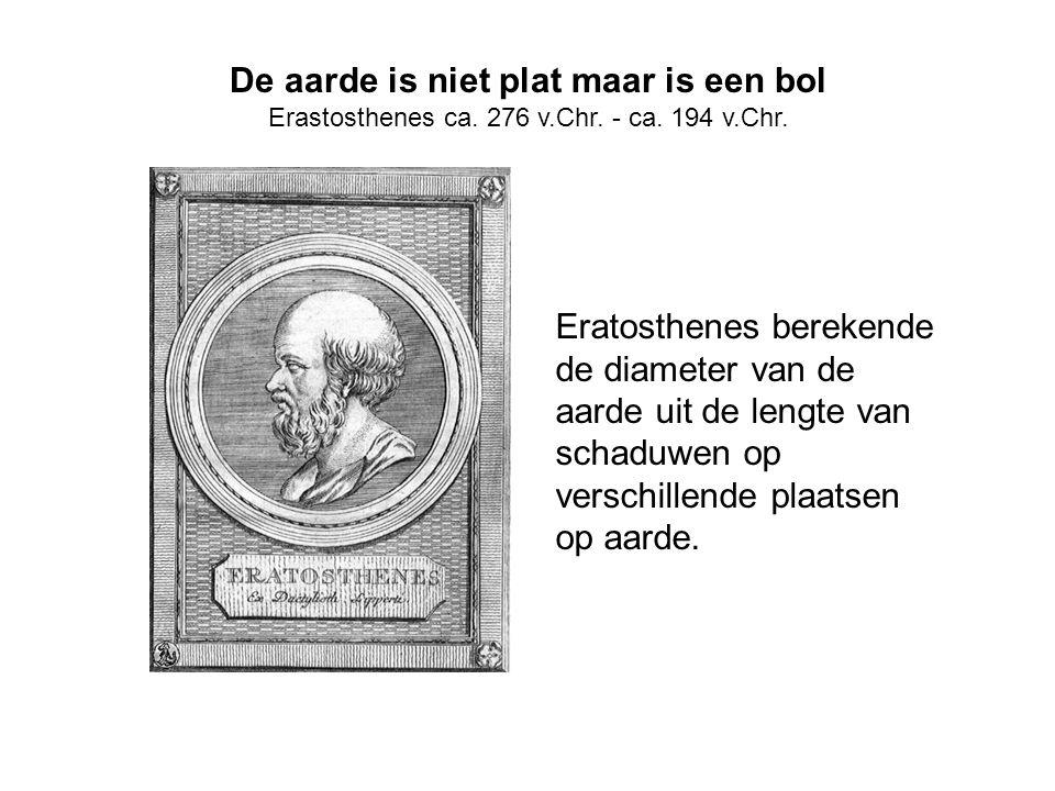 De aarde is niet plat maar is een bol Erastosthenes ca. 276 v.Chr. - ca. 194 v.Chr. Eratosthenes berekende de diameter van de aarde uit de lengte van
