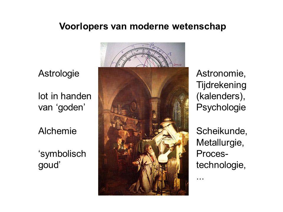 Voorlopers van moderne wetenschap Astrologie lot in handen van 'goden' Astronomie, Tijdrekening (kalenders), Psychologie Alchemie 'symbolisch goud' Sc