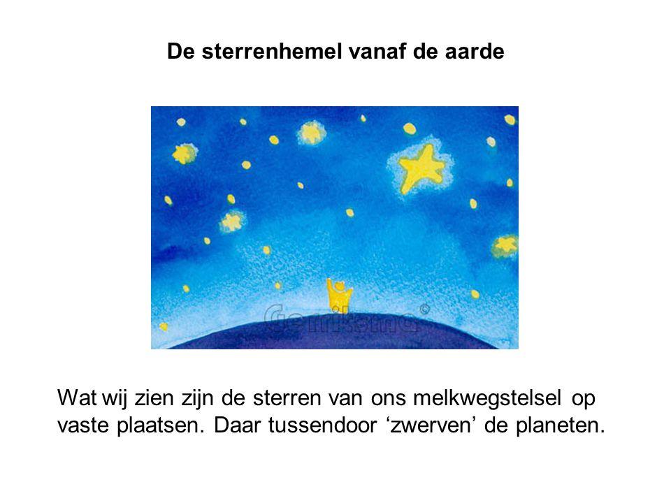 Wat wij zien zijn de sterren van ons melkwegstelsel op vaste plaatsen. Daar tussendoor 'zwerven' de planeten. De sterrenhemel vanaf de aarde