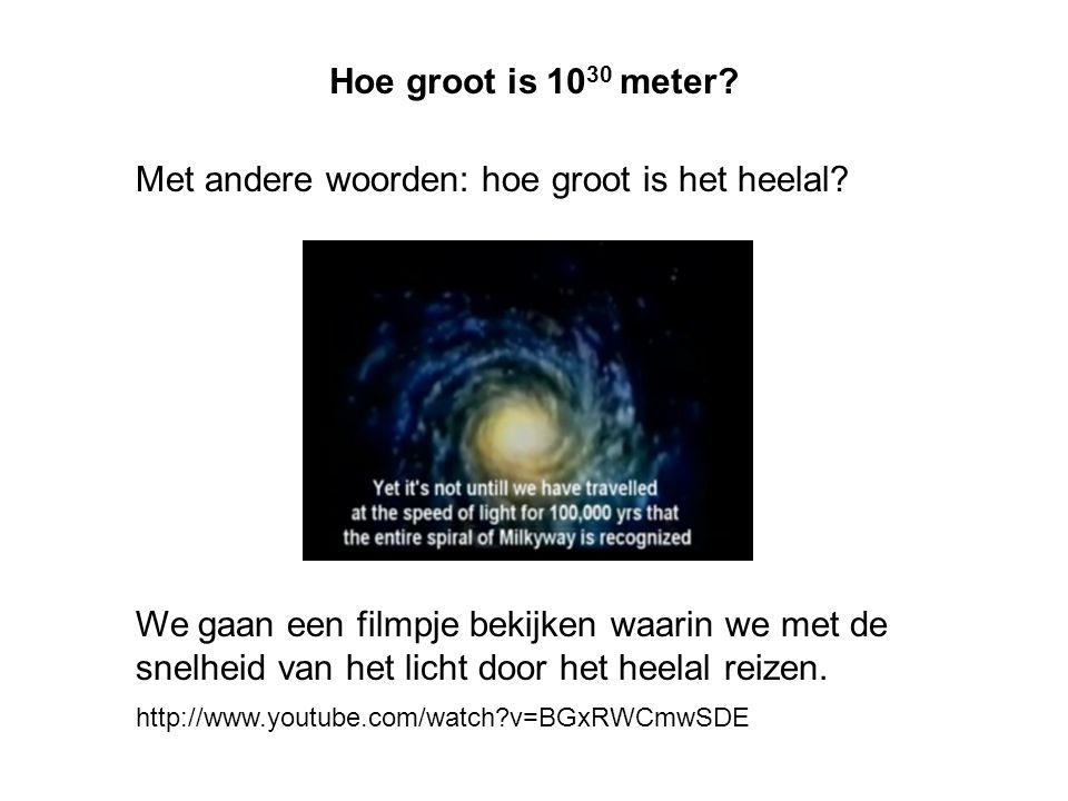 Hoe groot is 10 30 meter? Met andere woorden: hoe groot is het heelal? We gaan een filmpje bekijken waarin we met de snelheid van het licht door het h