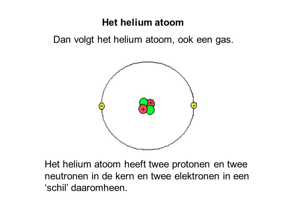 Het helium atoom Dan volgt het helium atoom, ook een gas. Het helium atoom heeft twee protonen en twee neutronen in de kern en twee elektronen in een