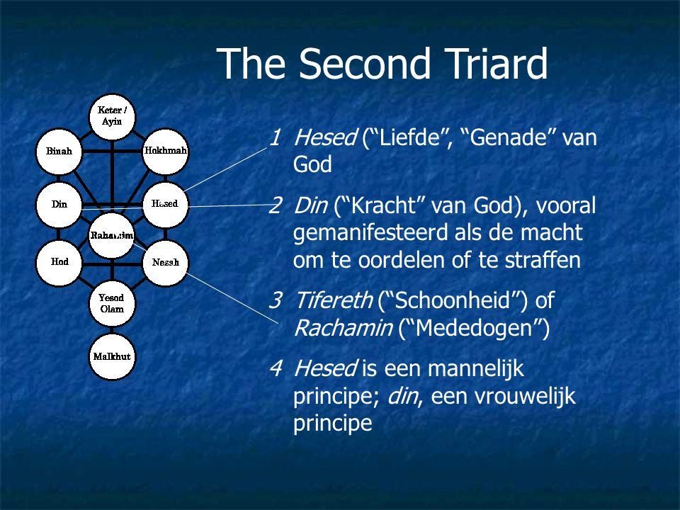 """The Second Triard 1Hesed (""""Liefde"""", """"Genade"""" van God 2Din (""""Kracht"""" van God), vooral gemanifesteerd als de macht om te oordelen of te straffen 3Tifere"""