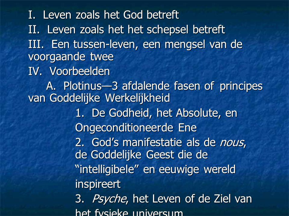 I. Leven zoals het God betreft II. Leven zoals het het schepsel betreft III. Een tussen-leven, een mengsel van de voorgaande twee IV. Voorbeelden A. P