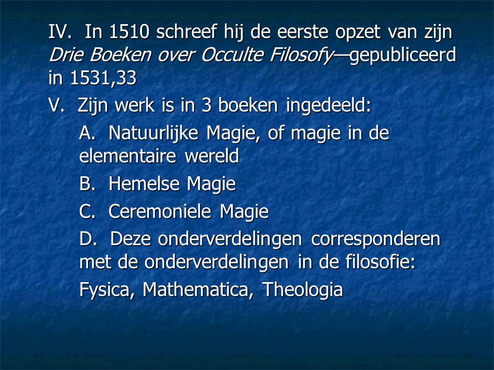 IV. In 1510 schreef hij de eerste opzet van zijn Drie Boeken over Occulte Filosofy—gepubliceerd in 1531,33 V. Zijn werk is in 3 boeken ingedeeld: A. N